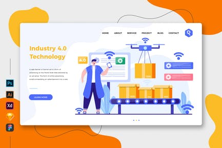 Industry 4.0 Technology Web & Mobile Landing Page