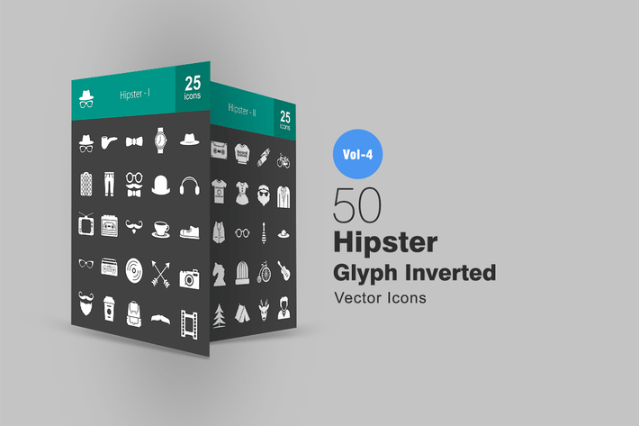 Thumbnail for 50 Hipster Glyph Inverted Icons