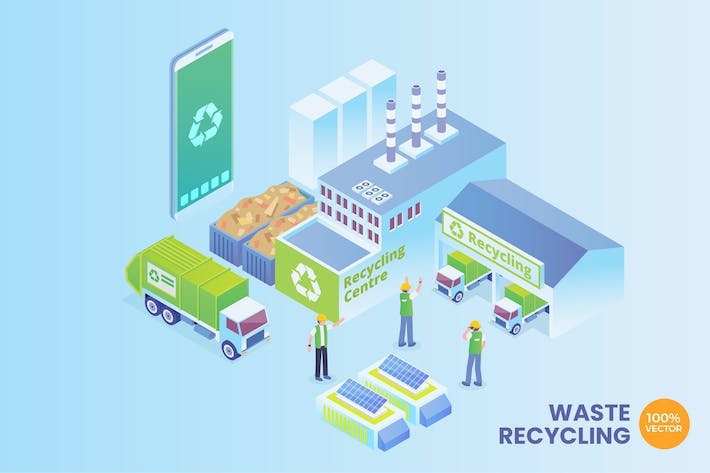 Thumbnail for Isometric Smart Waste Recycling Vector Concept