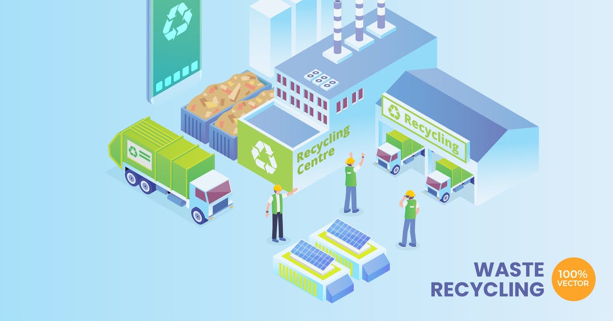 Download Isometric Smart Waste Recycling Vector Concept by naulicrea