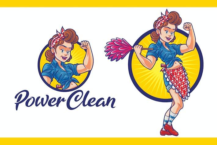 Thumbnail for Cartoon Power Clean Maid Mascotte Logo