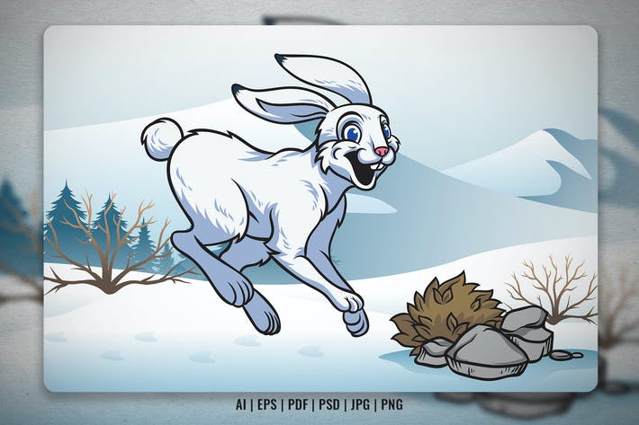 Cartoon Hare in the Winter Nature