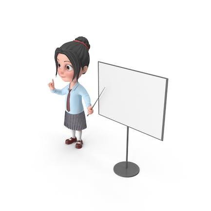 Cartoon Mädchen Emma bei Präsentation