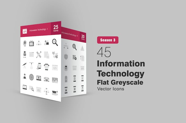 45 Information Technology Flat Greyscale Icons