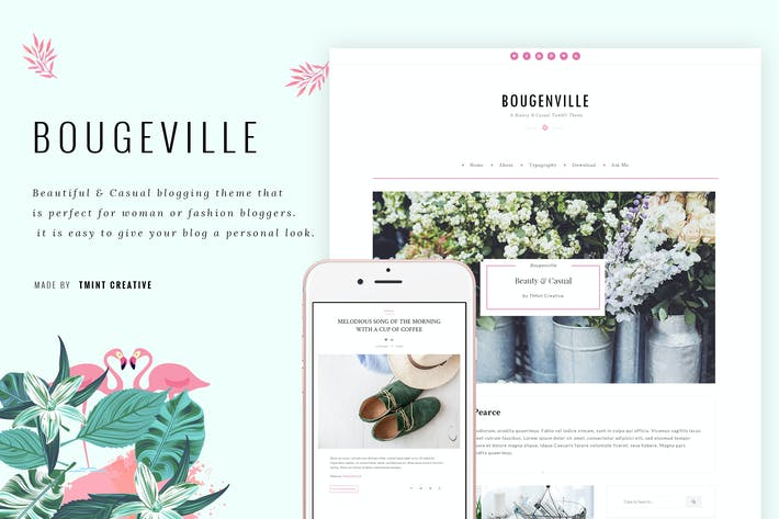 Cover Image For Bougenville - Beauty Tumblr Theme