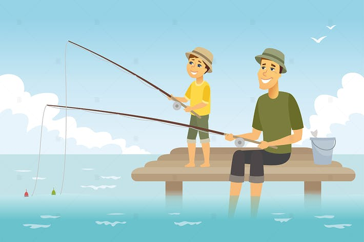 Father and son fishing - vector illustration