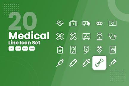 20 Medical Line Icon Set