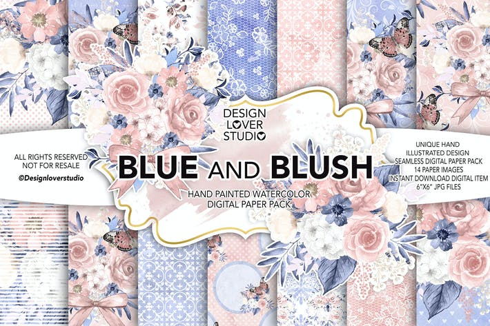 Thumbnail for Watercolor BLUE and BLUSH digital paper pack