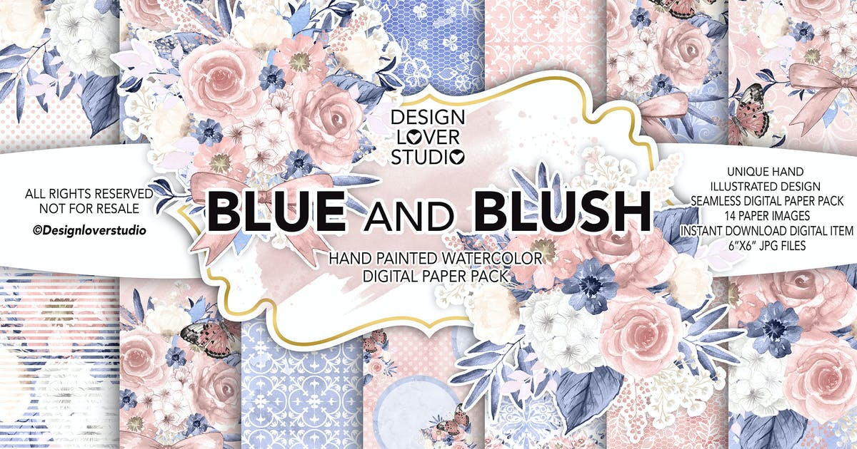 Download Watercolor BLUE and BLUSH digital paper pack by designloverstudio