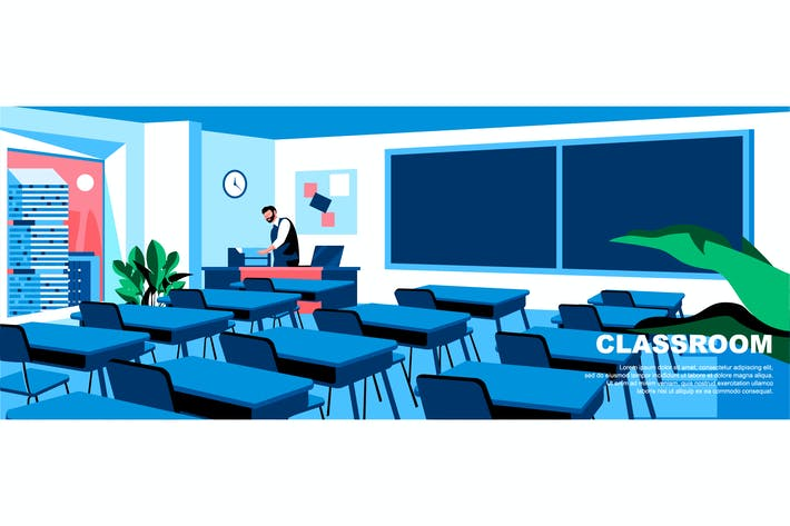 Thumbnail for Classroom Flat Concept Landing Page Header