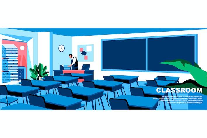 Thumbnail for Encabezado de página de inicio de concepto plano de aula