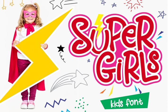 Thumbnail for Supergirls - Kids Font