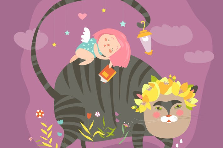 Thumbnail for Dreaming girl with for magic cat. Vector