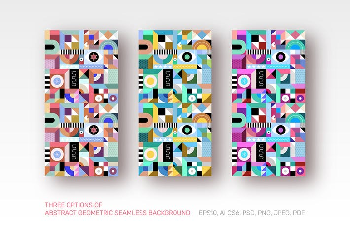 Thumbnail for 3 Abstract Geometric Seamless Backgrounds