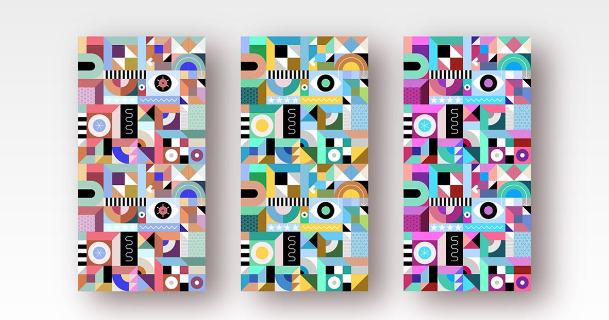 Download 3 Abstract Geometric Seamless Backgrounds by danjazzia