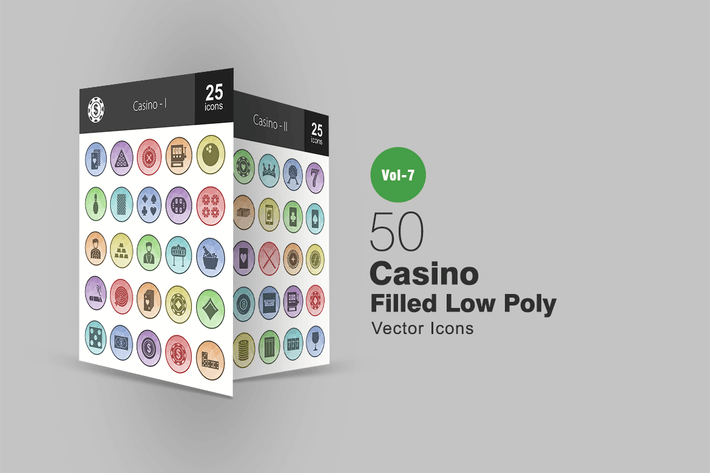 Cover Image For 50 Casino Filled Low Poly Icons