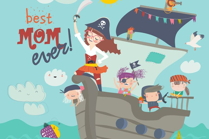 Thumbnail for Cute mother pirate sailing with her kids in ship.