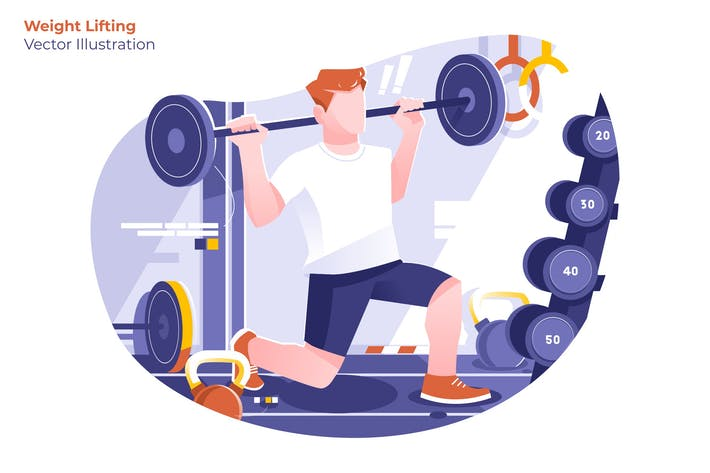 Weight Lifting - Vector Illustration
