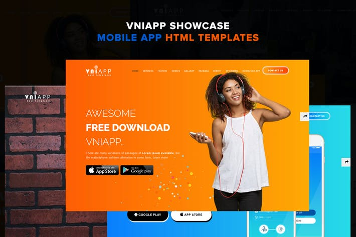 Thumbnail for VniApp - Showcase Mobile App HTML Template