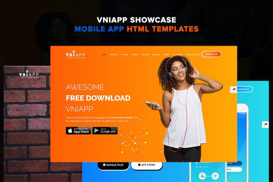 VNIApp - Showcase Mobile App HTML Vorlage