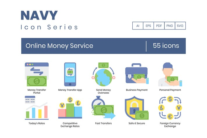 Thumbnail for 55 Online Money Service Icons | Navy Series
