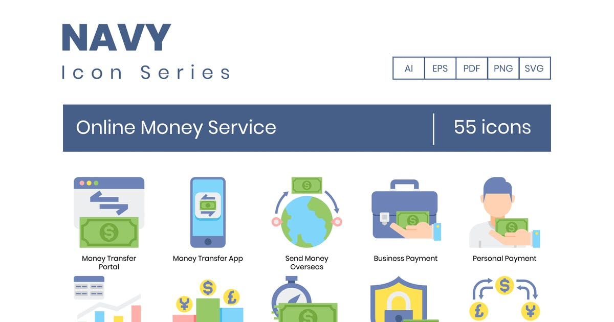 Download 55 Online Money Service Icons   Navy Series by Krafted