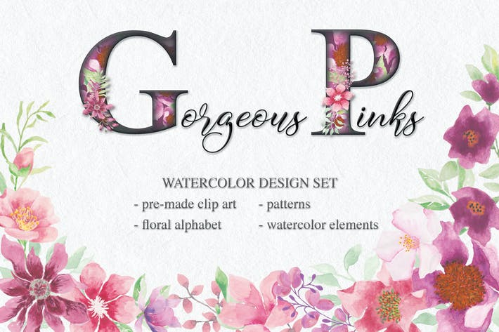 Thumbnail for Gorgeous Pinks Watercolor Design Set