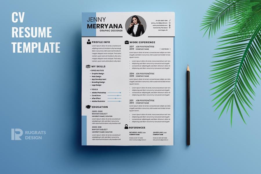 Minimalist CV  Resume R27 Template