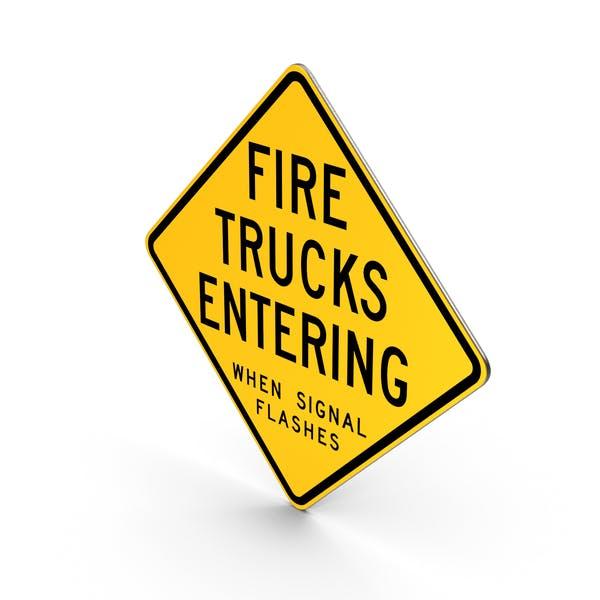 Пожарные машины, входящие, когда сигнал мигает дорожный знак Висконсина