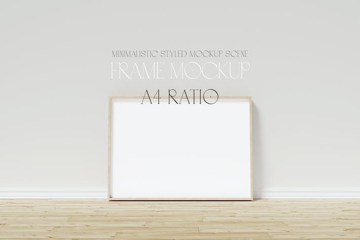 A4 frame mockup on wooden floor with stucco