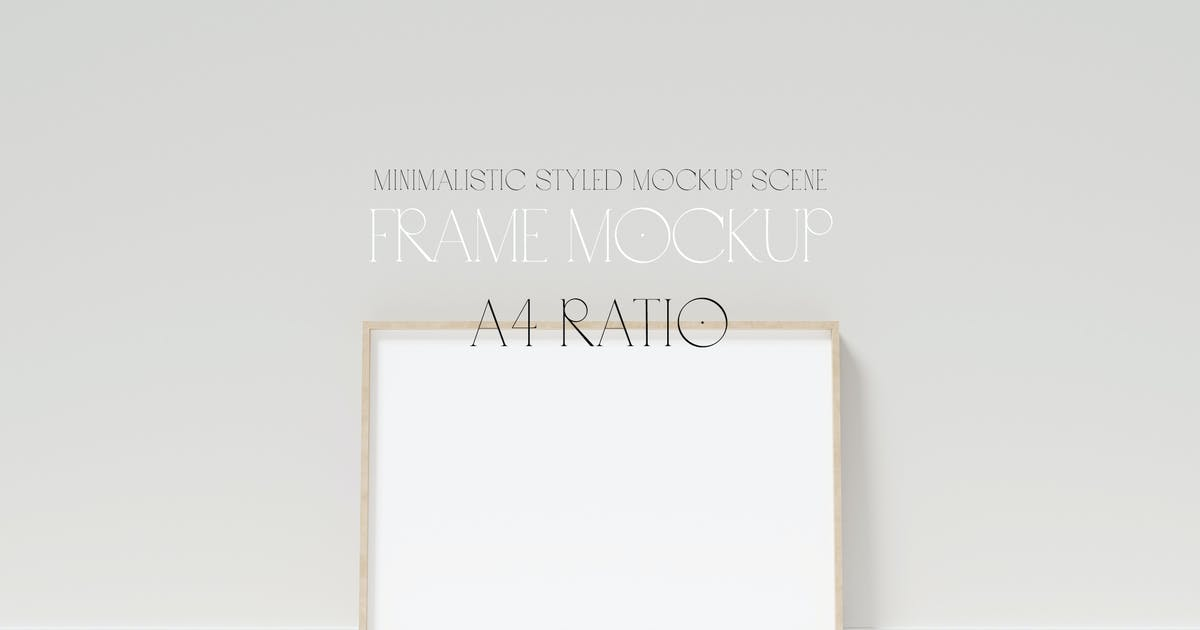 Download A4 frame mockup on wooden floor with stucco by anayvy