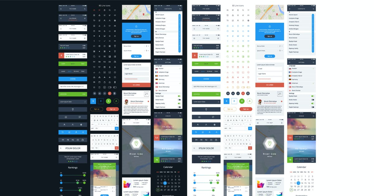 Download Vector GUI Template. UI Kit. by fet