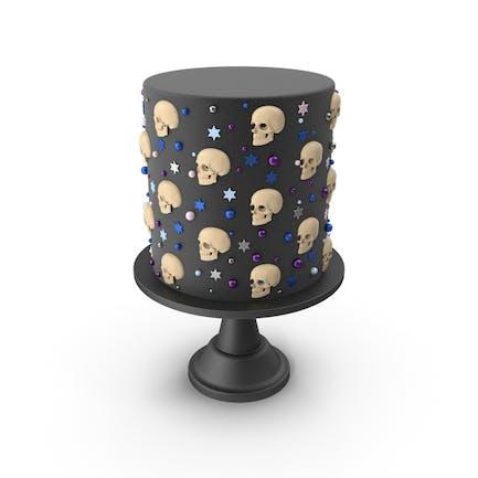 Halloween Cake with Skulls