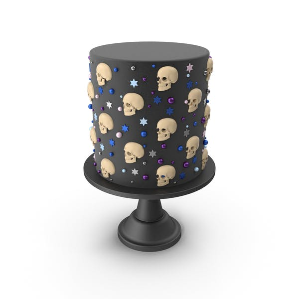 Halloween Cake with Skulls