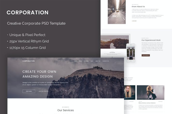 Thumbnail for Corporation - Creative Corporate PSD Template