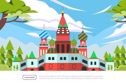 Basil's Cathedral - Famous Landmark Illustration