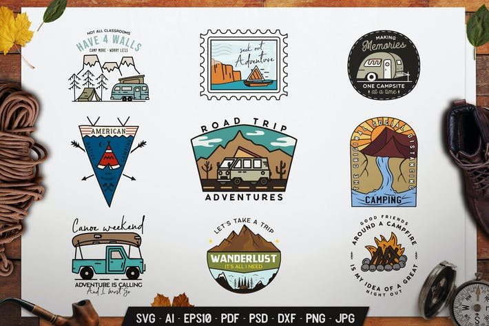 Thumbnail for Camp Adventure Badges, Outdoor Travel Logo Labels