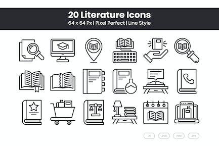 20 Literature Icons Set - Line