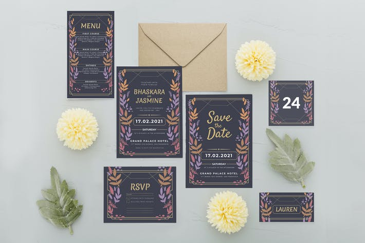Thumbnail for Floral coloré simple - Invitation de mariage