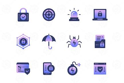 Informationssicherheit - Satz von Icons
