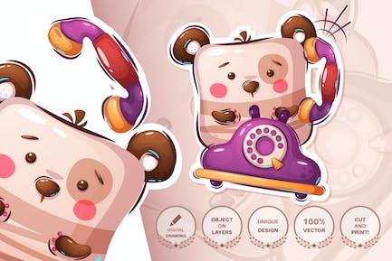 Teddy bear talking on the phone