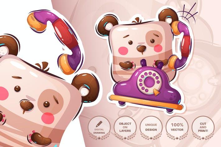 Teddybär im Gespräch am Telefon