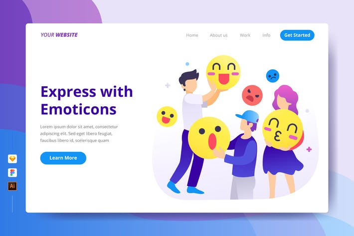 Thumbnail for Express with Emoticons - Landing Page