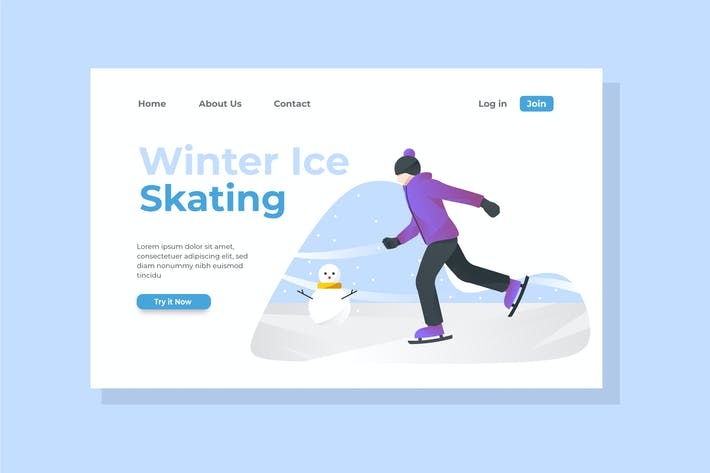 Thumbnail for Winter Ice Skating Landing Page Illustration