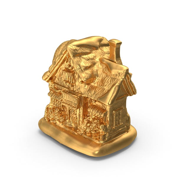 Thumbnail for Gold Christmas Tea House Decoration