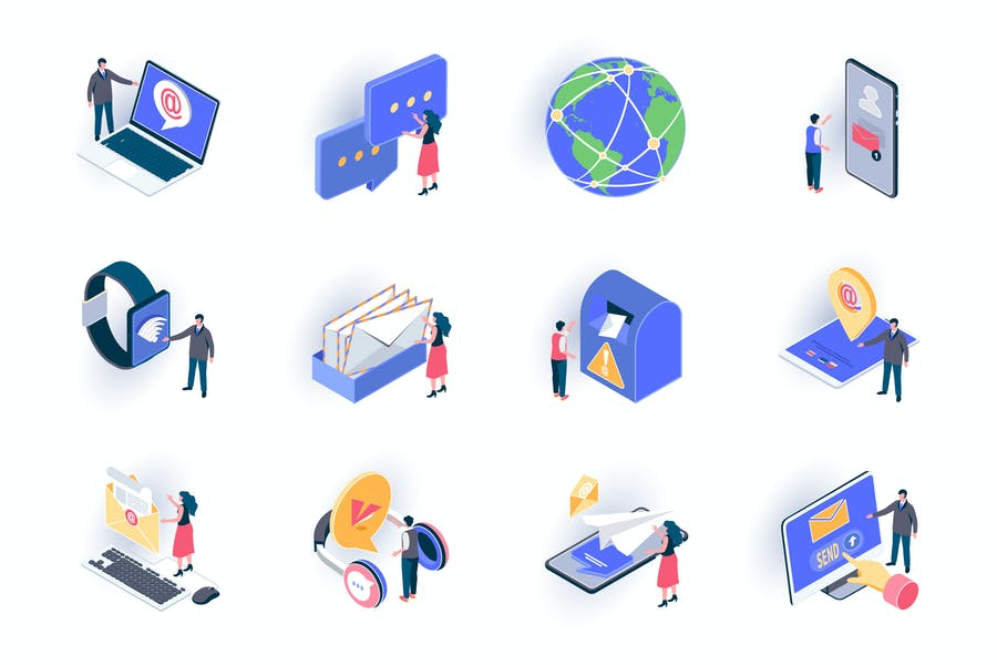 Social Contacts Isometric Icons Pack