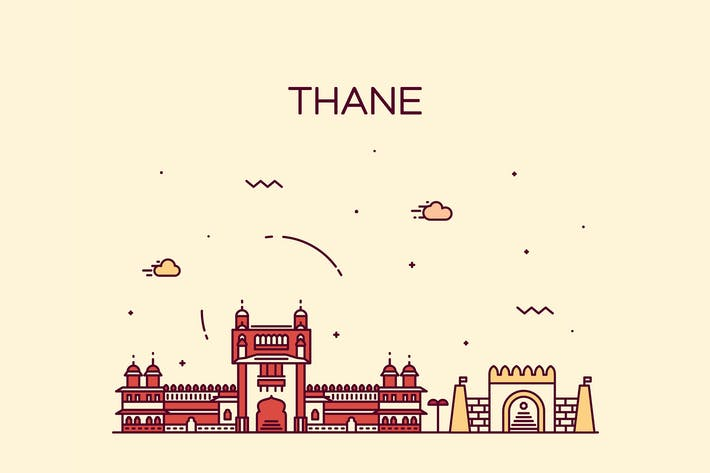 Cover Image For Thane skyline, India