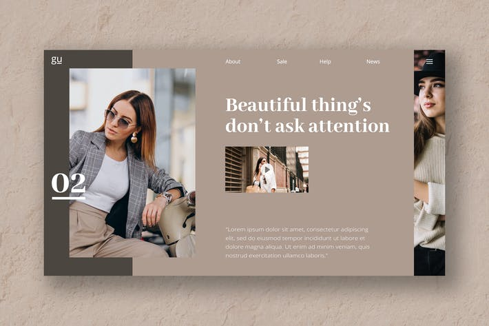 Thumbnail for Beauty Fashion Hero Header PSD Template