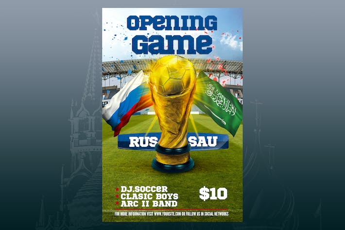 Opening Match Russia 2018 Flyer Poster