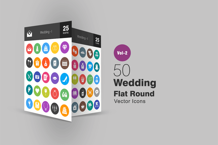 Thumbnail for 50 Wedding Flat Round Icons